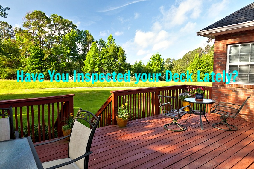 Inspect your wood deck annually to prevent deck collapse resulting in injuries.
